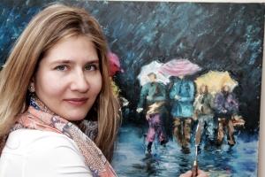 L'artiste avec la peinture Impression d'une journée pluvieuse